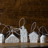 amsterdam ornament - pure white unglazed porcelain holiday ornament modern designer dutch holland