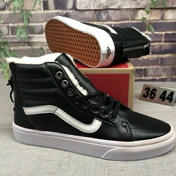 Vans Sk8-HI Reissue Women Men Fashion Casual Wool High Tops Running Sport Shoes Black G-CSXY