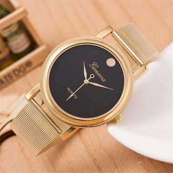 Womens Girls Unique Classic Casual Sports Watches Gold Alloy Strap Watch Best Christmas Gift 390