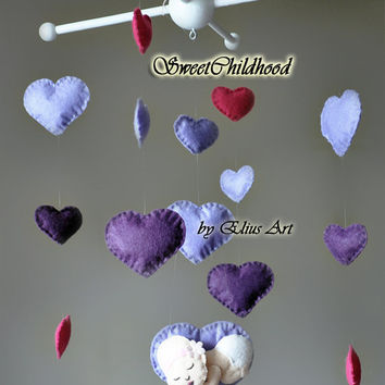 Baby mobile, purple plum violet, girl mobile, heart mobile, crib mobile, felt nursery decor mobile
