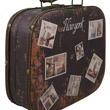 Vintage Hard Shell Cosmetic Carrying Case Small Beauty Travel Case Hand Luggage w/ Vintage City Print