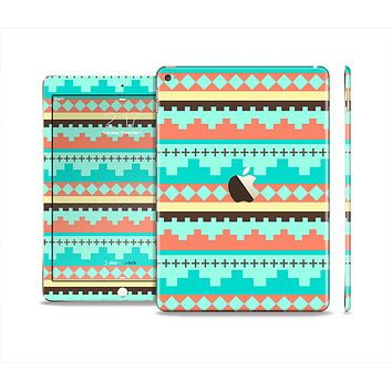 The Teal & Gold Tribal Ethic Geometric Pattern Skin Set for the Apple iPad Air 2