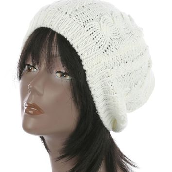 White Cable Knit Soft Winter Beanie Hat And Cap