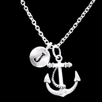 Choose Initial Letter Anchor Nautical Beach Refuse To Sink Gift Friend Necklace