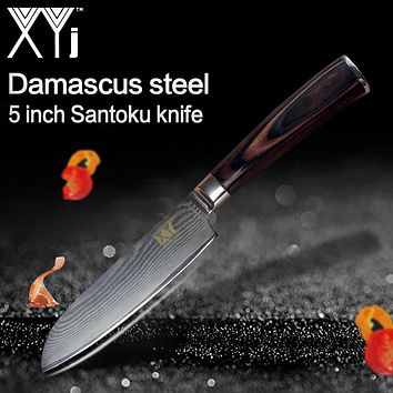 XYj Damascus Cooking Knife 73 Layers VG10 Damascus Steel 5 inch Santoku Knife Color Wood Handle Kitchen Knives Cooking Tools