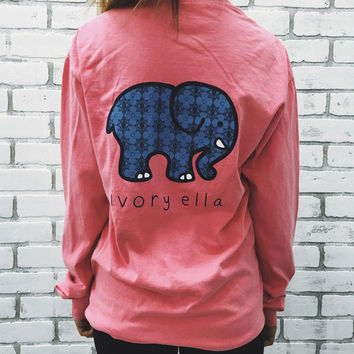 Watermelon Red Elephant and Letter Print Long Sleeve T-Shirt