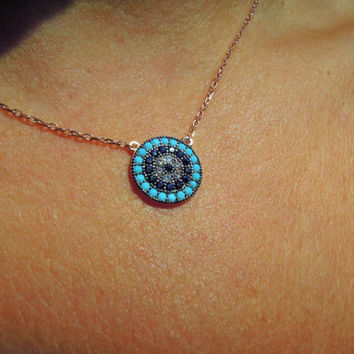 Evil eye necklace, evil eye jewelry, rose gold, Turkish evil eye, protection necklace, kaballah jewelry, Birthday Gifts, Christmas gifts