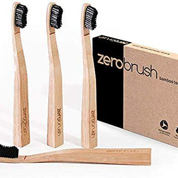 ZeroBrush Bamboo Toothbrush - Wood Handle Toothbrush, Eco-Friendly, 4-Pack Zero Waste Biodegradable Recyclable Toothbrushes