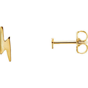 Lightning Bolt Stud Earrings - 14k