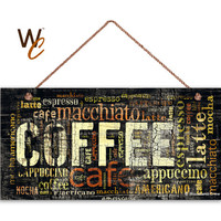 "Dark Distressed Coffee Sign, Words Cafe Mocha Cappuccino Latte, Weatherproof, 5"" x 10"" Sign, Cafe Decor, Warm Colors, Made To Order"