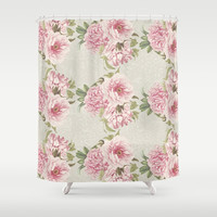 pink peony pattern Shower Curtain by sylviacookphotography