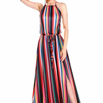 Blooming Jelly New Rainbow Vertical Stripes Print Hater Maxi Dress Bohemian Summer Vestidos High Split Backless Party Long Dress