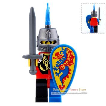 DR.TONG 9812 Single Sale Medieval Knight Armor LegoINGly Blue Dragon Knight Action Figure Building Blocks Gift Toys for Children