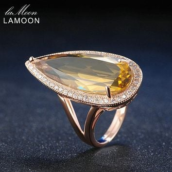 LAMOON Luxury Gemstone Natural TearDrop Citrine 925 Sterling Silver Cocktail Ring Women Jewelry Rose Gold Plated S925 LMRI041