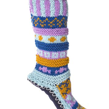 Purple Hand Knit Wool Long Slipper Socks | Tibetan Socks