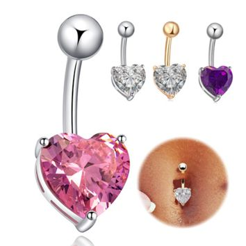 Summer Heart Shape Belly Ring Crystal Belly Button Rings 6 Colors