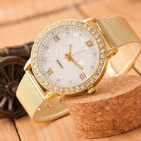 Diamond Dress Watch Woman Fashion Glod Stainless Steel Geneva Wristwatch Women Luxury Brand Quartz Clocks Watch Relogio