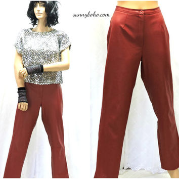 Vintage 80s red faux leather high waisted pants size 7/8 vegan red leather pants high waist 1980s retro  rocker red pants SunnyBohoVintage