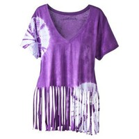 License Juniors Circle Tie Dye Fringe Graphic Tee - Purple