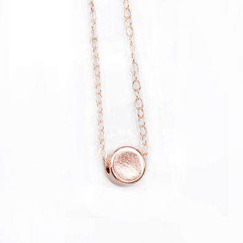 Tiny Rose Gold Dot Necklace - Dainty Rose Gold Jewelry - Layering Necklace - Candy Dot Circle Pendant