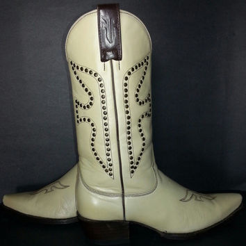Frye 77780 Daisy Duke Boot Western Beige Leather Cowboy Cowgirl Western Women's Size 8, Off White Boots
