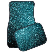 Beautiful Aqua blue glitter sparkles look: Car Mats Full Set (set of 2) by PLdesign