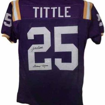 Y.A. Tittle Signed Autographed LSU Tigers Football Jersey (JSA COA)