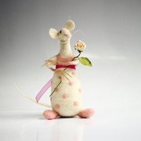 Little White Felt Mouse With A Pink Rose - Needle Felted - Art Doll
