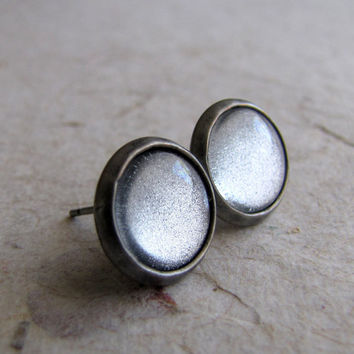 Silver on Silver 10mm Post Earrings
