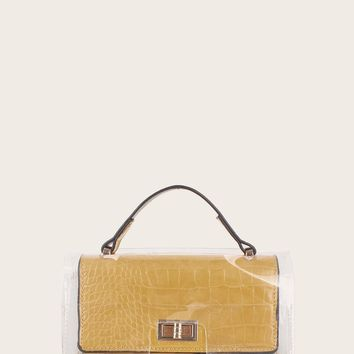 Croc Embossed Twist Lock Satchel Bag