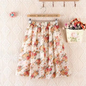 2017 Summer New Bohemian Chiffon Women Knee Length A Line Skirt Flower Print High Waist Loose One Size Tutu Skirt