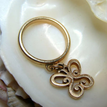 14k Dangle Ring Butterfly James Avery Movable Size 4.5