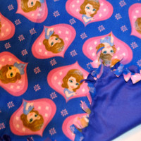 Sofia The First Toddler Blanket,Sofia the First Blanket, Princess Sofia Blanket, Disney Princess fleece tie blanket with Sofia