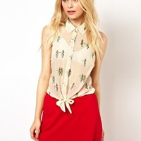 Sugarhill Boutique Tie Blouse in Hula Honey Print at asos.com