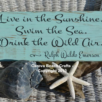 Live In The Sunshine, Emerson, Beach, Coastal, Nautical, Wood Sign, Distressed, Beach Sign