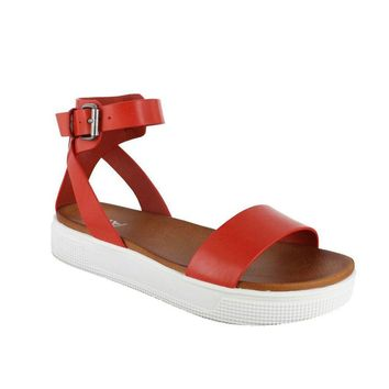 Ellen Platform Sandal in Red