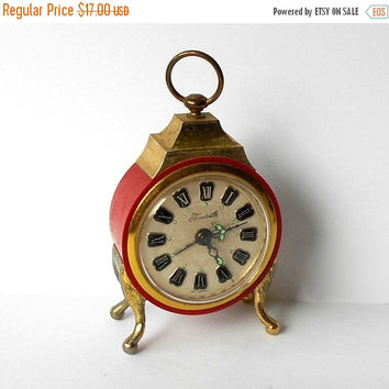 Vintage Forestville red Alarm Clock Made in West Germany Shabby Country Chic WORKING