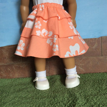 Doll Skirt, Orange Doll Skirt, Orange Floral Skirt, fits 18 Inch Dolls such as American Girl Dolls, Summer Doll Clothes, Upcyled