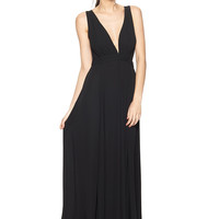 OLIVACEOUS Black/Black Sleeveless Two-Tone Maxi Dress with Mesh Back