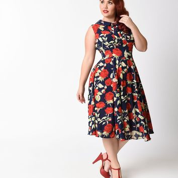 Unique Vintage Plus Size 1940s Navy Blue & Red Rose Sleeveless Olson Swing Dress