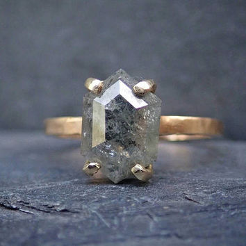Hexagon Geometric Diamond Ring, Raw Grey Diamond, Unique Engagement Ring, 14k Yellow Gold, Rose Cut Diamond
