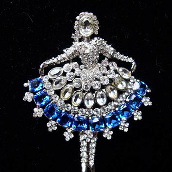 Weinberg NY Ballerina Dancer Brooch Blue & White Glass Vintage Rhinestone Silver Plate Pin