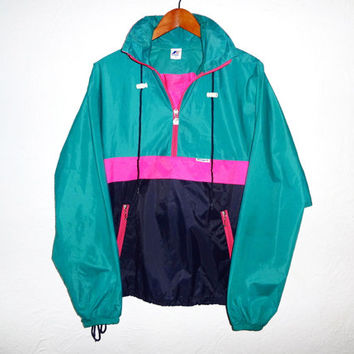 90s Vintage WINDBREAKER Color block Neon Pink Green Black Hidden Hoodie Hidden Pouch Pockets Activewear Outerwear Save by the Bell Surfer