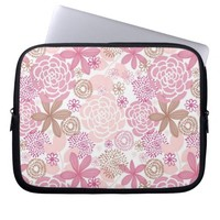 Delicate Pink and Brown Floral Pattern Computer Sleeve