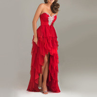 Party Ball Gown Long Prom Bridesmaid Evening dress Red Sweetheart Ruching Bodice