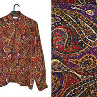Womens Vintage Bow Blouse Button Up Colorful Bohemian Pussybow Plus Size Extra Large XL XXL 2X