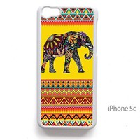 Vc 76 Handmade Finely Printed- Elephant Doodle Flower Petals on Aztec Pattern- Hard Plastic -Framed White- Fit for Iphone 5c