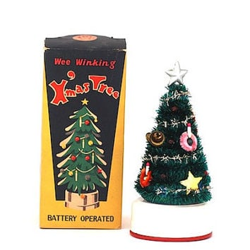 Wee Winking Miniature Christmas Tree, Made in Japan, Mid Century, For Mom, Christmas Tree, Doll House Miniatures, Pigeon Toys,