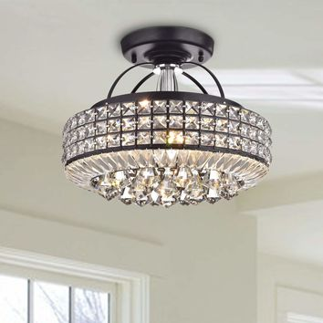 Contemporary Glam Black Drum Shade Crystal Semi Flush Mount Chandelier
