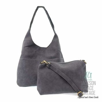 Dark Chambray Sueded Hobo Tote